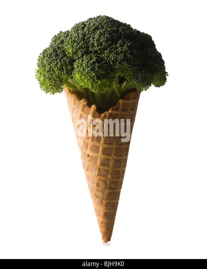 broccoli in a waffle ice cream cone - Stock Image