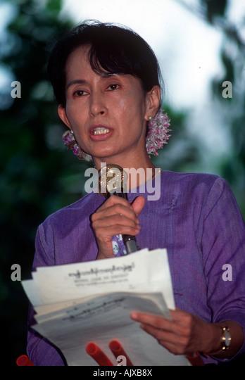 Burmese NLD opposition leader Aun San Suu Kyii. - Stock-Bilder