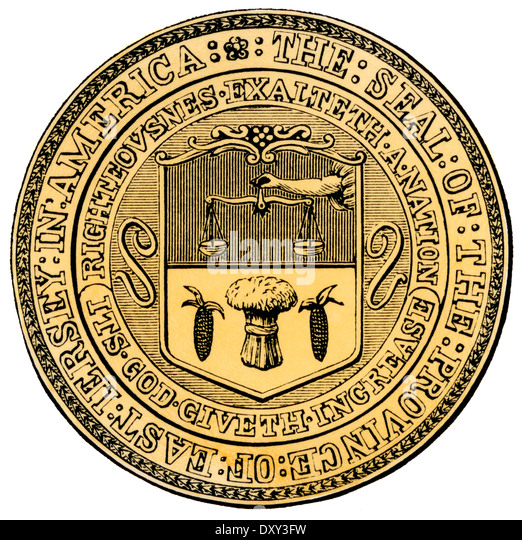 Colonial seal of East Jersey Province. Hand-colored woodcut - Stock Image