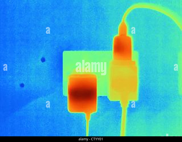 Thermal image of plugs and outlets - Stock Image