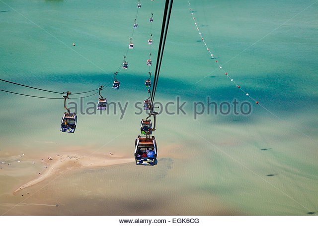 Overhead cable cars above beach - Stock Image