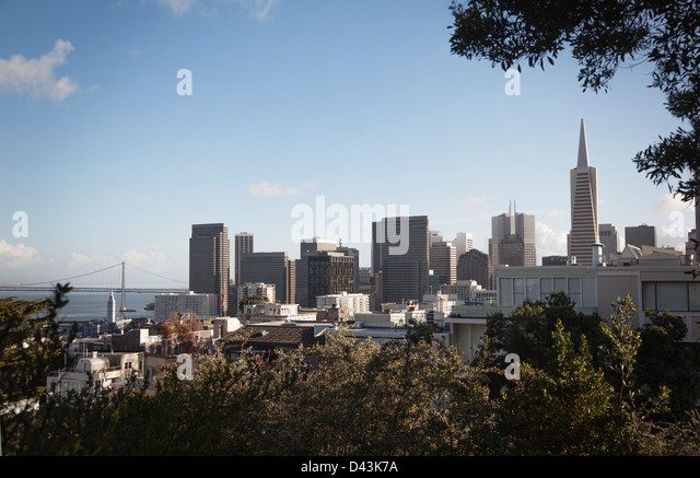 View of the city skyline from Telegraph Hill, San Francisco, California, USA - Stock Image