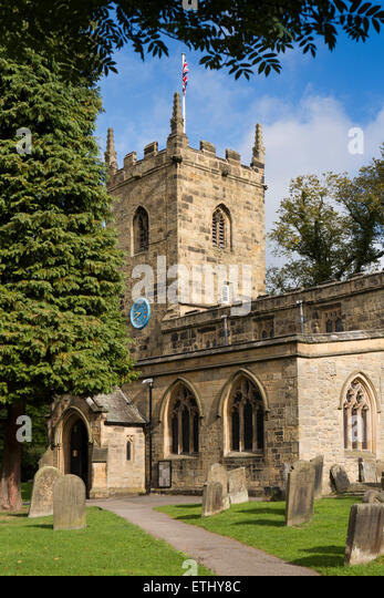 UK, England, Derbyshire, Eyam, Parish Church of St Lawrence - Stock Image