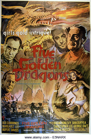 FIVE GOLDEN DRAGONS, top from left: Christopher Lee, George Raft, Brian Donlevy, Dan Duryea (bottom left), 1967 - Stock Image