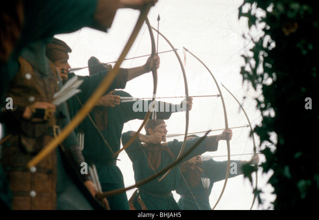 Archers in a battle re-enactment. Artist: Geoffrey Davis - Stock Image