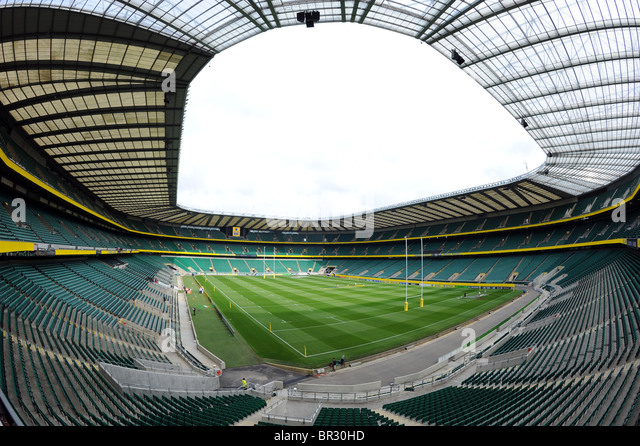 View inside Twickenham Stadium, Twickenham, London. Home of the English Rugby Football Union or RFU - Stock Image