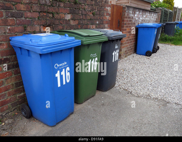 The many wheelie bins now required for domestic households in England, UKBlue for recycling, Green Garden Waste, - Stock Image