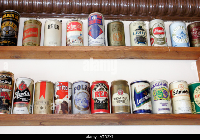 Indiana Porter Wagner's Ribs Texas style barbeque beer can collection - Stock Image