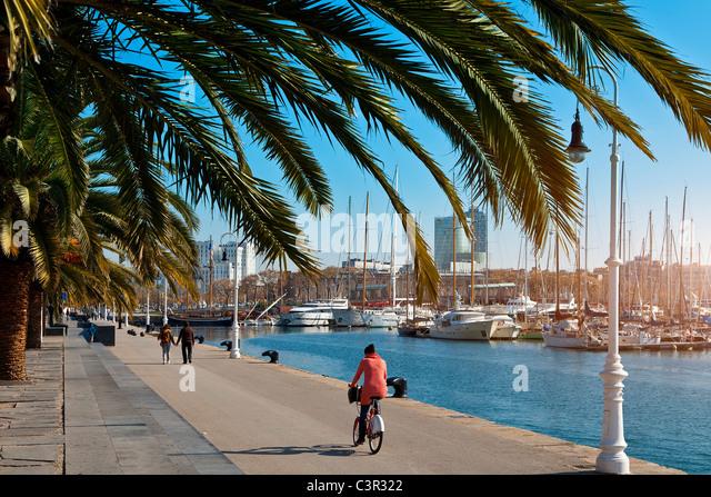 Barcelona, Rambla de Mar, Port Vell - Stock Image