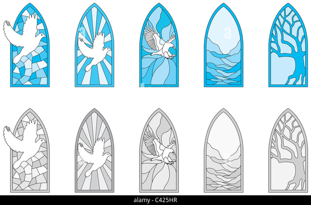 Vector art depicting isolated stained glass window - Stock-Bilder