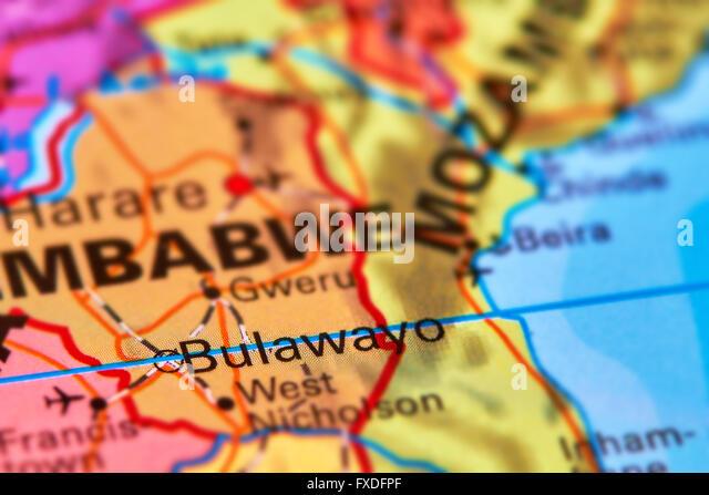 Bulawayo City in Zimbabwe on the World Map - Stock Image