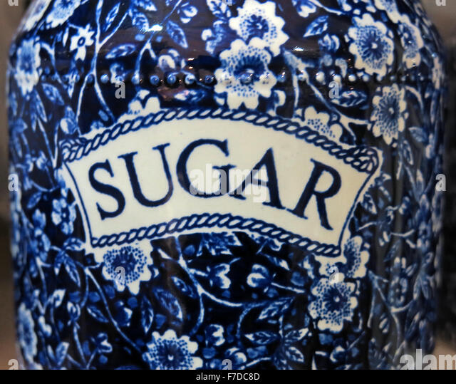 Dutch Delft Pottery Sugar Jar in blue & white - Stock Image
