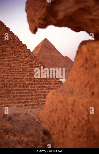 THE PYRAMIDS OF GIZA NEAR CAIRO EGYPT - Stock Image