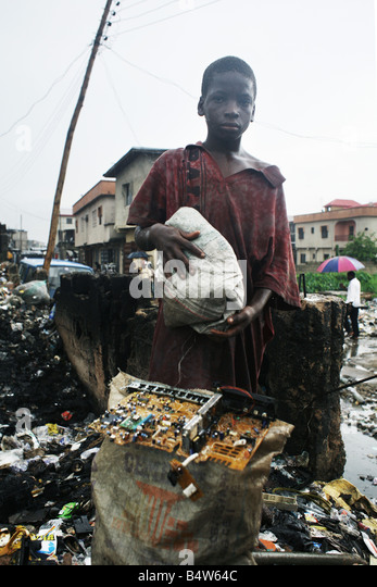 Electronic waste in Nigeria. Tons of e-waste from Western countries end up in West Africa, including Nigeria. - Stock Image
