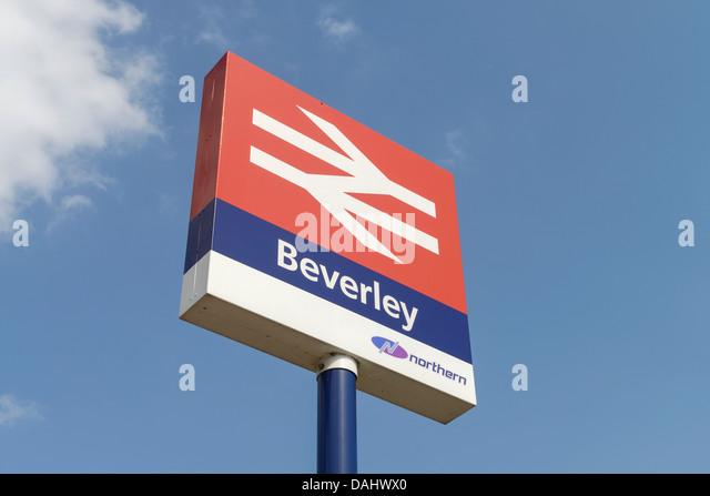 Beverley train station sign UK - Stock Image