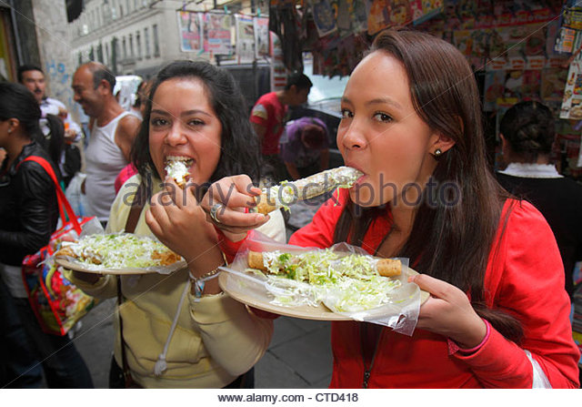 Mexico City Mexico DF D.F. Distrito Federal Cuauhtemoc Centro Historico business district street food flautas typical - Stock Image