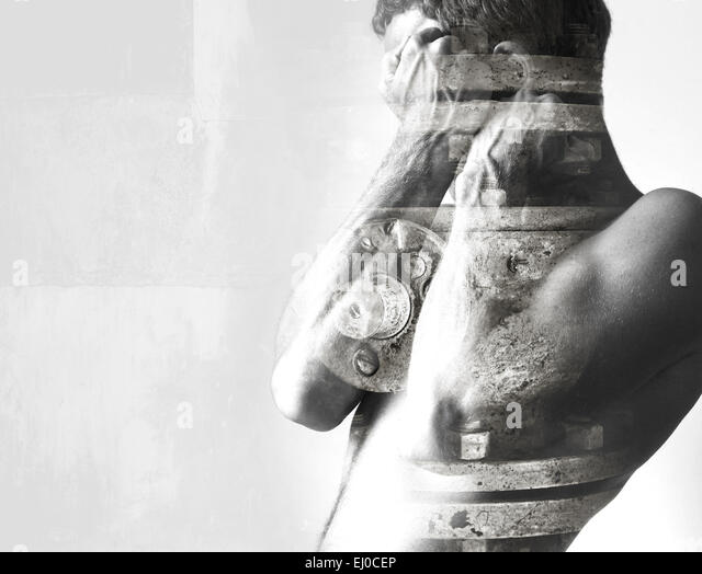 Double exposure abstract conceptual photo collage, man hides behind his strong blocking hands and industrial details - Stock-Bilder