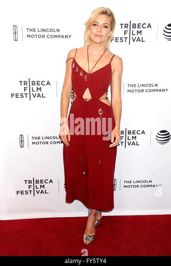 New York City. 20th Apr, 2016. Sienna Miller attends the 'High-Rise' premiere during the 2016 Tribeca Film - Stock Image
