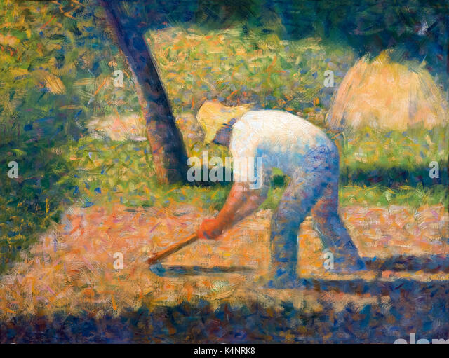 Peasant with Hoe, by Georges Seurat, 1882, Solomon R. Guggenheim Museum, Manhattan, New York City, USA, North America - Stock Image
