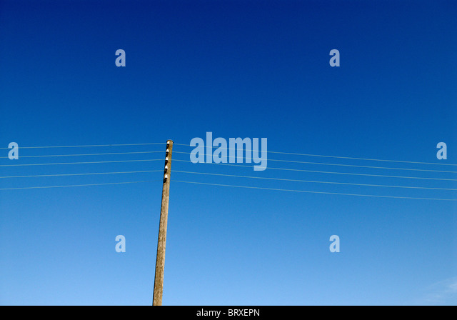 PYLON WITH POWER LINES - Stock Image