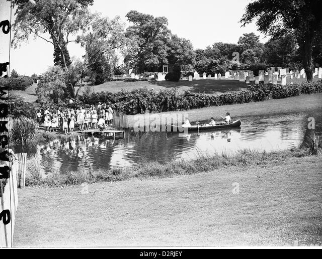 A Day On The Pond In The Easthampton, 1938 - Stock Image