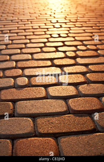 Brick pattern of pavement - Stock Image
