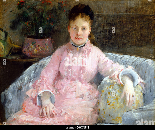 The Pink Dress ( Albertie–Marguerite Carré, later Madame Ferdinand–Henri Himmes ) - by Berthe Morisot, 1870 - Stock Image
