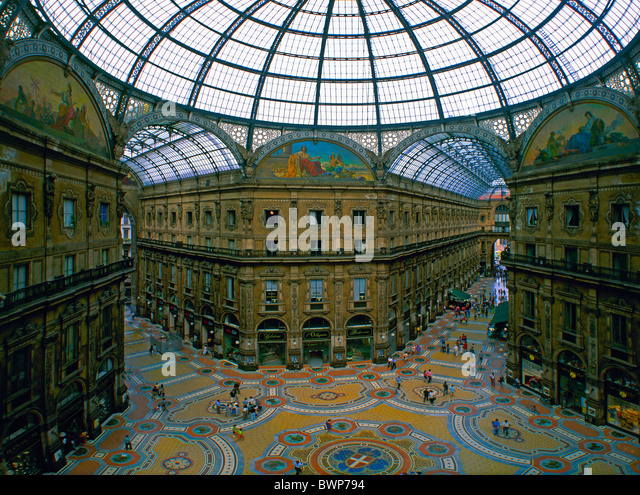 Italy Europe Milan Galleria Vittorio Emanuele II July 2007 Europe city town inside arcade glass dome shoppi - Stock Image