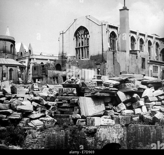 WW2 Bomb Damage - Temple Church London in June 1945 - Stock Image