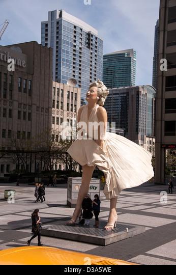 The Marilyn Monroe statue on Michigan Avenue in Chicago IL Illinois USA - Stock Image