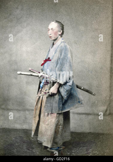 geography / travel, Japan, people, men, samurai, officer, photograph, coloured, late 19th century, - Stock-Bilder