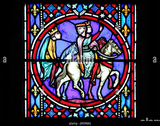 Nativity Window, stained glass window, by Oudinot of Paris, 1861, Feltwell Church, Norfolk.  The Magi, 3 three kings, - Stock-Bilder