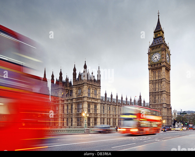 London, Big Ben and the Houses of Parliament from Westminster Bridge. England, United Kingdom. - Stock-Bilder