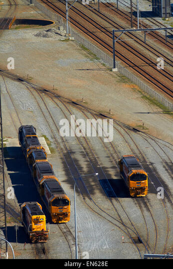 Trains and railway lines, Wellington, North Island, New Zealand - Stock Image