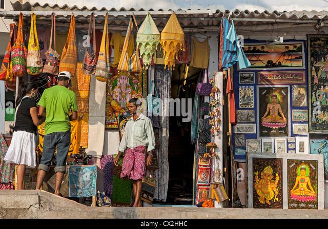 Varkala beach , Souvenir Shops, India Kerala - Stock Image
