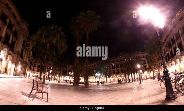 Panorama of Placa Reial at night, Barcelona, Spain - Stock Image