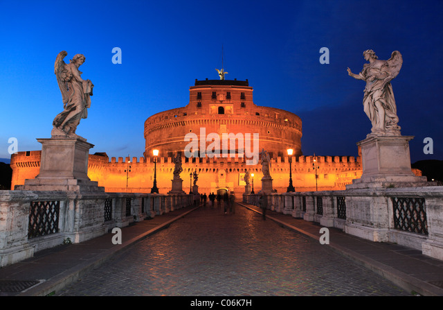 Ponte Sant'Angelo bridge, Rome, Italy, Europe - Stock Image