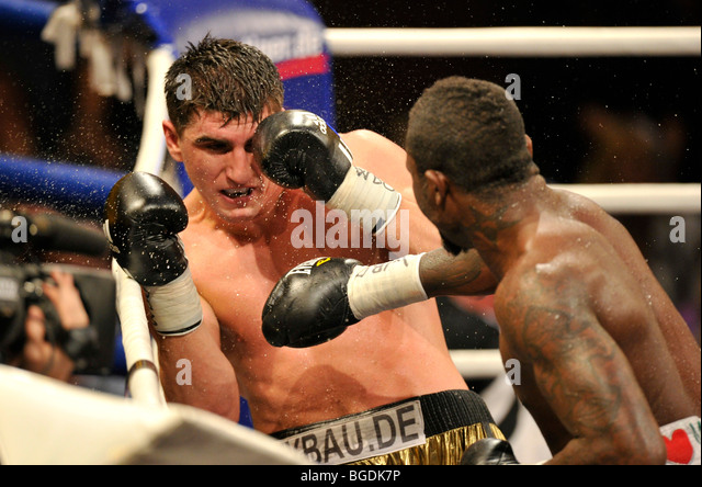 Boxing world championship fight, Marco HUCK, GER, vs. Ola Afolabi, GBR, WBO cruiserweight, Neue Arena Ludwigsburg, - Stock Image