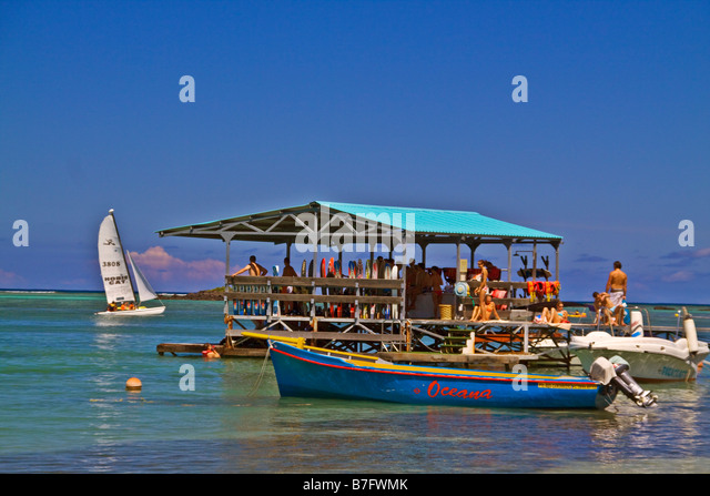 Water ski Pier of Club Med at La Pointe aux Canonniers at north east coast Mauritius Africa - Stock Image