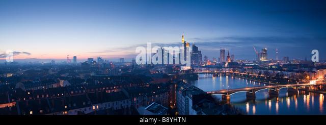 City Skyline Frankfurt Am Main Hessen Germany - Stock Image