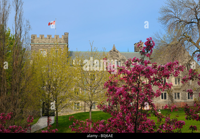 View of University of Trinity College Toronto through budding trees and cherry blossoms in Spring - Stock Image