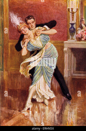 Couple dancing in Vienna late 19th century Woman is wearing a feather head dress and long necklace of pearls.  Caption - Stock-Bilder