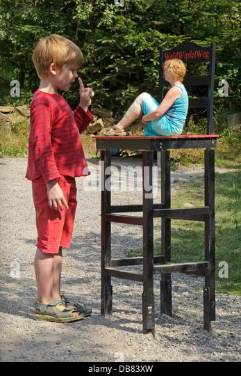 Beuchet Chair, optical phenomenons, Canopy Walkway Maibrunn, Bavarian Forest, Baveria, Germany - Stock Image