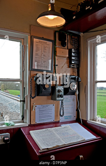 Interior of the Crossing Keeper's Hut on the Kent and East Sussex Railway, UK - Stock Image