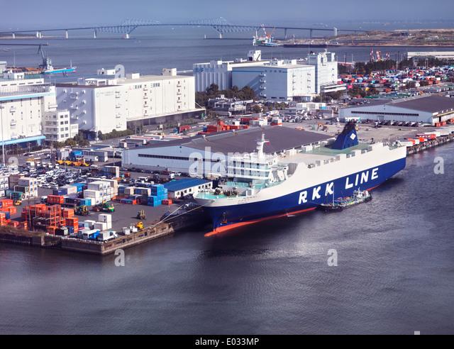 Wakanatsu cargo ship Ro-Ro RKK line docked in a port at Odaiba, Tokyo, Japan. Aerial view. - Stock Image