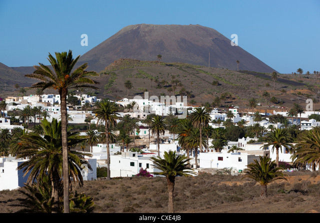 View over village, Haria, Lanzarote, Canary Islands, Spain - Stock Image