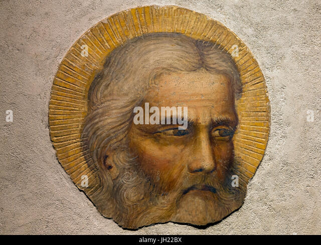 Head of an Aged Saint, by Giottino, 1350-1355, Ospedale degli Innocenti, Florence, Tuscany, Italy, Europe - Stock Image