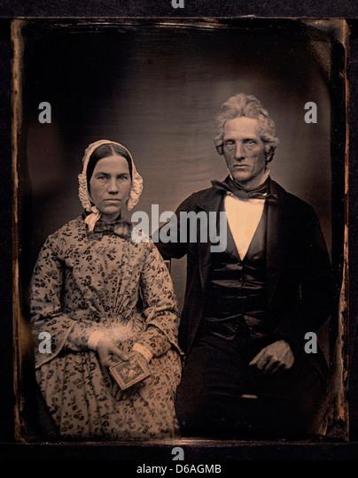 Couple Portrait, Daguerreotype, Circa 1850's - Stock Image