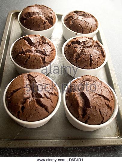 Hot Chocolate Puddings - step shot - Stock Image