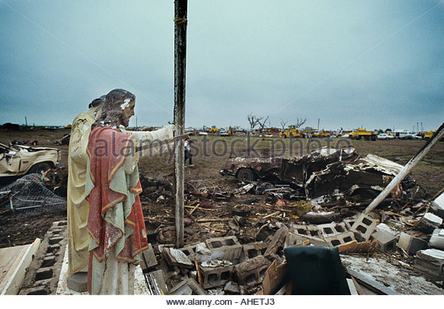 Statue of Jesus and other religious items recovered   from the debris of  the Killer Saragosa Texas   Tornado which - Stock Image
